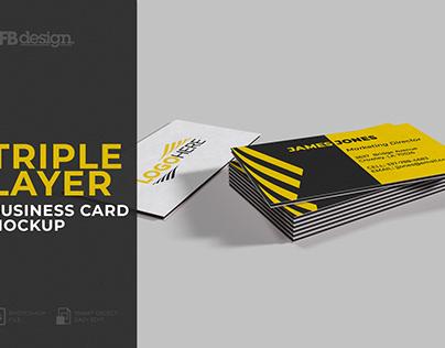 Triple Layer Business Card Mockup