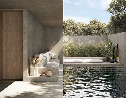 Minimalistic house with swimming pool