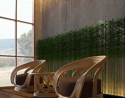 3d interior with rattan funiture