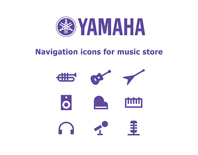 Navigation icons for music store