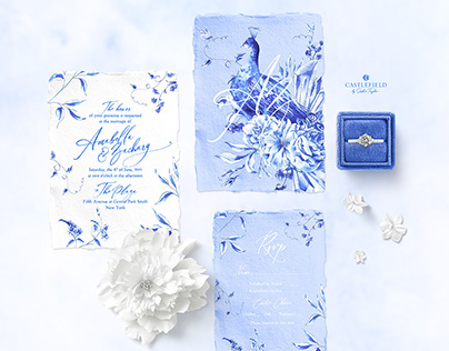 Peacock Blue Invitation Suite
