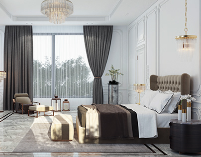 New Elegant Bedroom with Dressing and Bathroom .