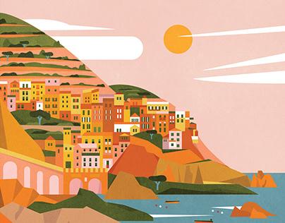 Cinque Terre, Italy landscape illustration