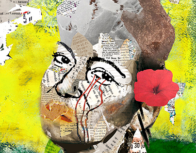 Carrying tears, flowers and stones (Faces#4)- 50 x 70 c