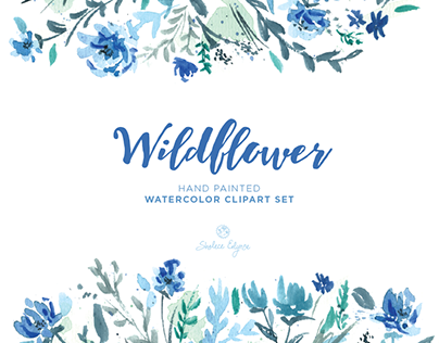 Wildflower Watercolor Floral Clipart Set