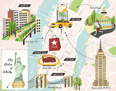 Tourist Map of New York for World of Cruising Magazine