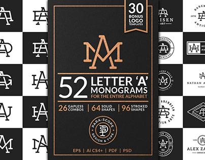 52 Letter 'A' Monograms