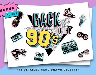 Back to the 90's. Hand Drawn Icons