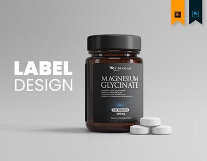 VibraxLabs MAGNESIUM GLYCINATE - Label Design