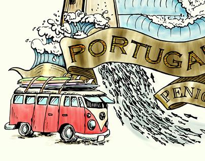 Peniche Portugal digital watercolor