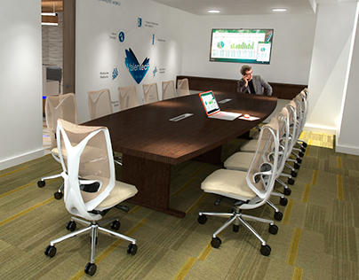 Render interior Boardroom and open Office .