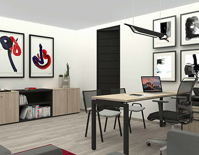 Propuesta de diseño de mobiliario para oficinas renders