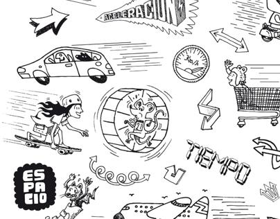 Ilustraciones para cuaderno didáctico Cinématica