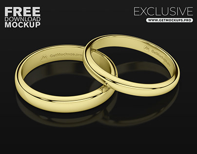 Wedding Jewelry Rings Engraved Logo Free Psd Mockup