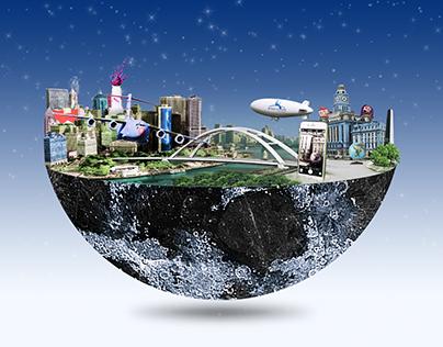 City on the moon photo manipulation