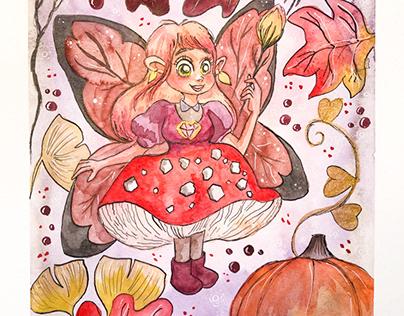 Fée d'automne aquarelle
