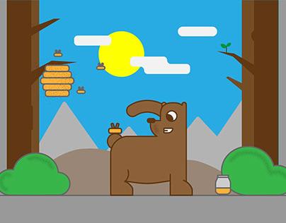 Bear and honey illustration