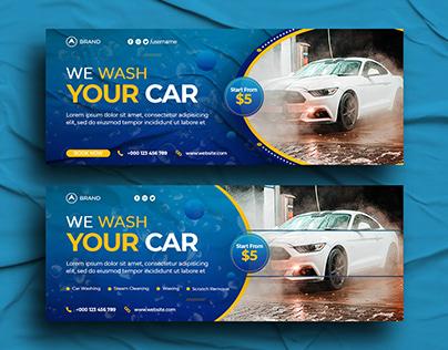 Car Wash Facebook Cover or Social Media Header,Banner