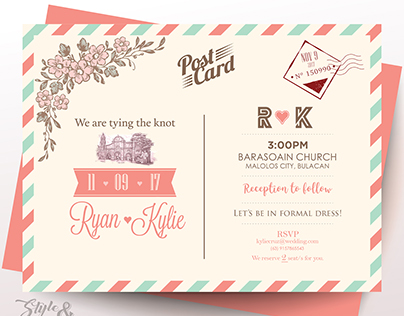 Postcard Pink Invitation