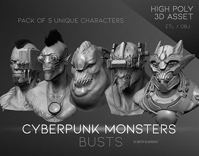 """Cyberpunk Monsters"" busts"