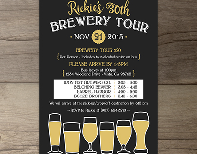 Brewery Tour Birthday Invitations