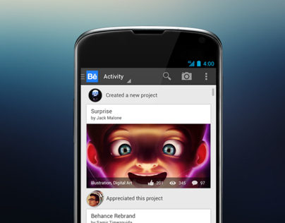 Behance App for Android Ice Cream Sandwich