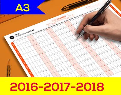 Planner calendar 2016-2017-2018