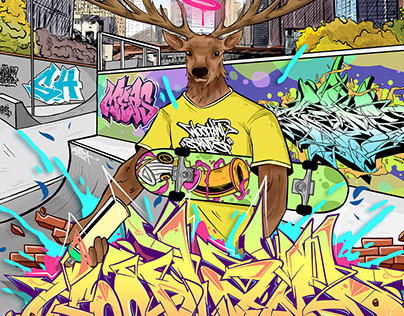 Graffiti Illustration for Woodland Skates