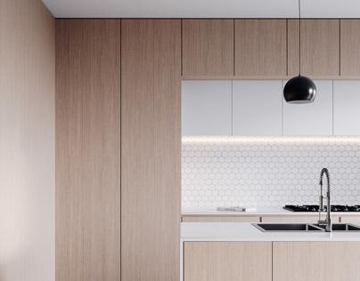 Kitchen minimalist. CGI.