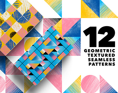 12 Geometric Textured Seamless Patterns