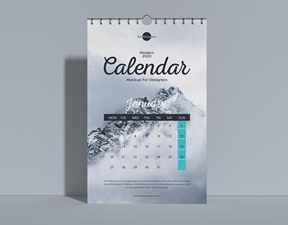 Free Modern 2020 Wall Calendar Mockup For Designers