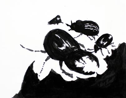 Ink illustrations - Thumbelina