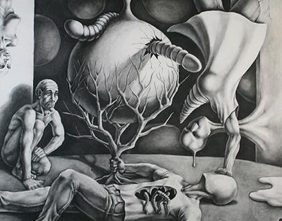 """Bachelor study """"Charcoal on Canvas"""" ASFA, 2010"""