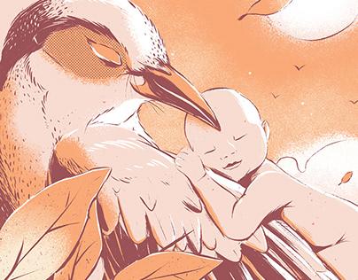 Merel // Birth Announcement Illustration