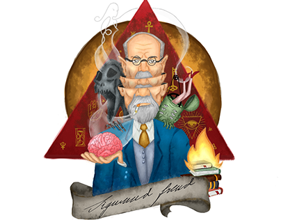 Illustration, a Sigmund Freud's portrait