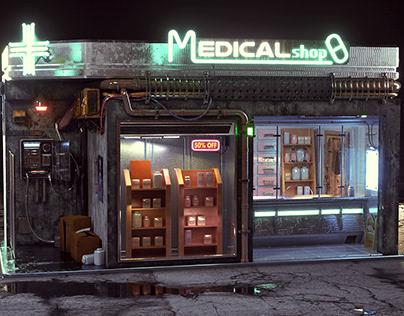 cyberpunk medical shop
