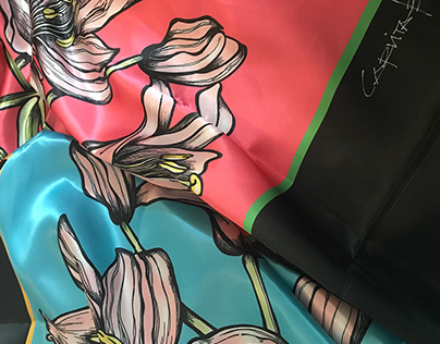 SILK SCARVES : DAY LILY
