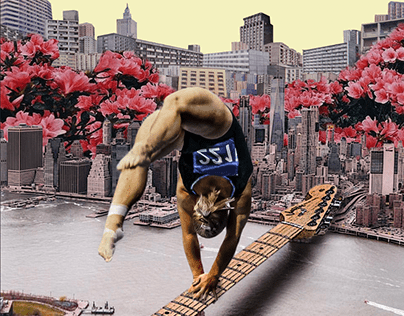 Gymnast on the Brooklyn Bridge