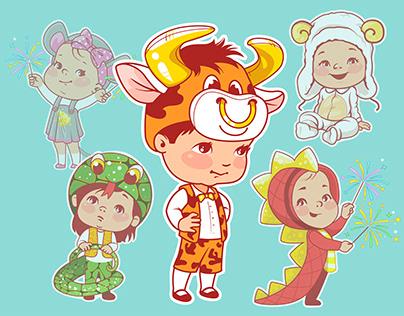 Chinese year cartoon symbols.