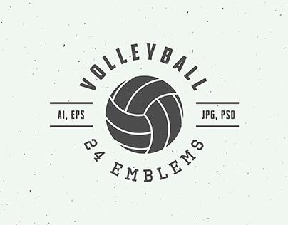 24 volleyball emblems