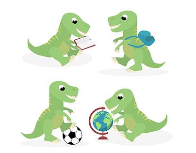 Cute trex dinosaur vector illustration - download