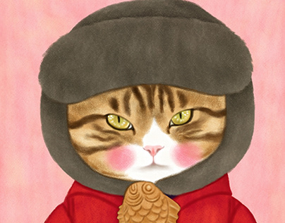 A cat character in a red coat