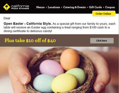 California Pizza Kitchen Easter E-Blast