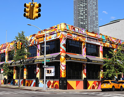 """🚕🙂🚕 """"Yellow Cabs"""" mural in Long Island City, NYC"""