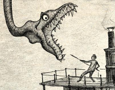 Plesiosaur attack on the Amazon River.