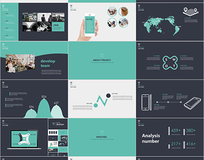 business infographics Report PowerPoint template