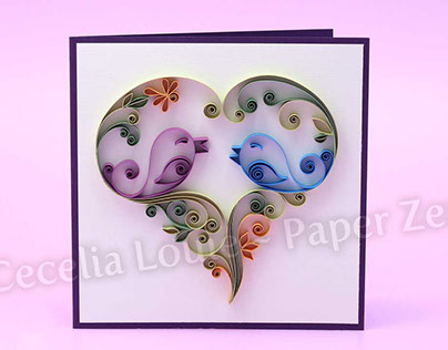 Paper Quilling Love Birds Anniversary Card
