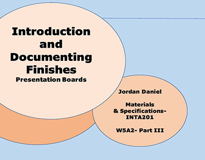 Introduction and Documenting Finishes