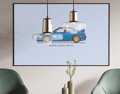 Subaru Impreza WRX STI - Flat illustration