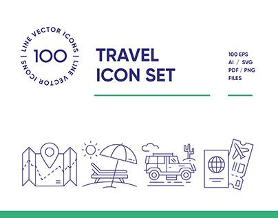 Travel & Landmarks Line Icon Set